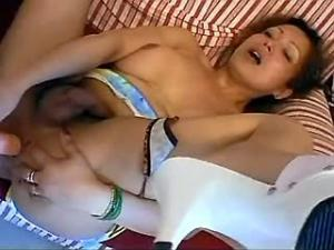 Tranny gets nailed and quenches her thirst with cum