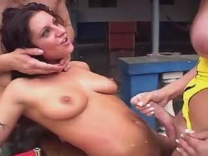 Yummy straight girl gets hot cum jet from shemales