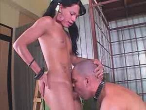 Tranny sucks thick dick and gets it in her ass