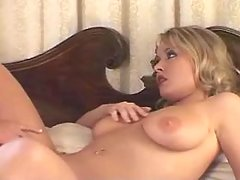 Blonde sucks dick of cute shemale